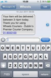 SMS Text pre alert for home deliveries